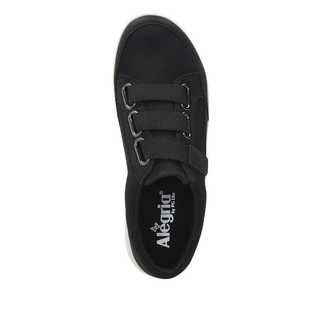 Dahlia Black Relaxed sport rocker shoe with dual density polyurethane outsole and adjustable elastic hook-and-loop straps. DAH-7888_S4