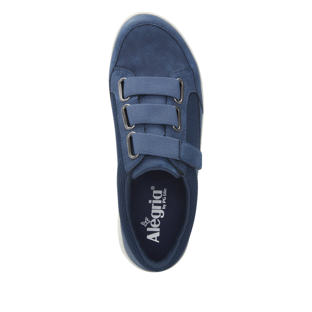Dahlia Blue Relaxed sport rocker shoe with dual density polyurethane outsole and adjustable elastic hook-and-loop straps. DAH-7889_S4