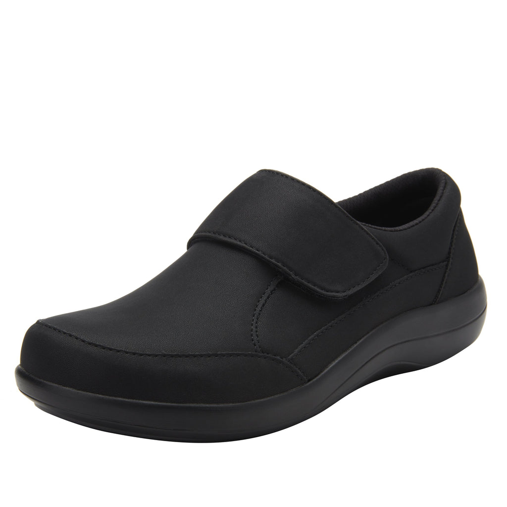 Daisie Black Softie sport rocker shoe with dual density polyurethane outsole and adjustable hook-and-loop strap. DAI-7873_S1