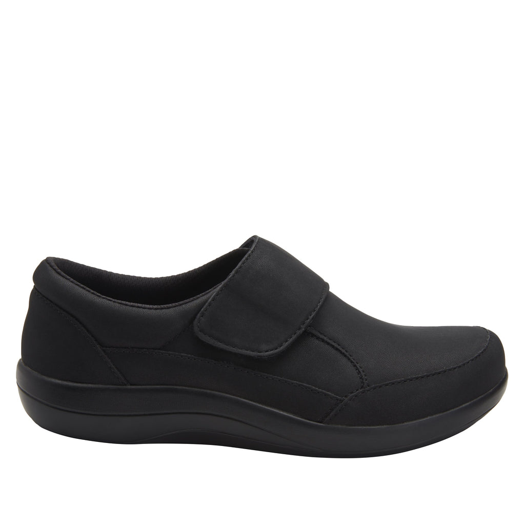 Daisie Black Softie sport rocker shoe with dual density polyurethane outsole and adjustable hook-and-loop strap. DAI-7873_S2
