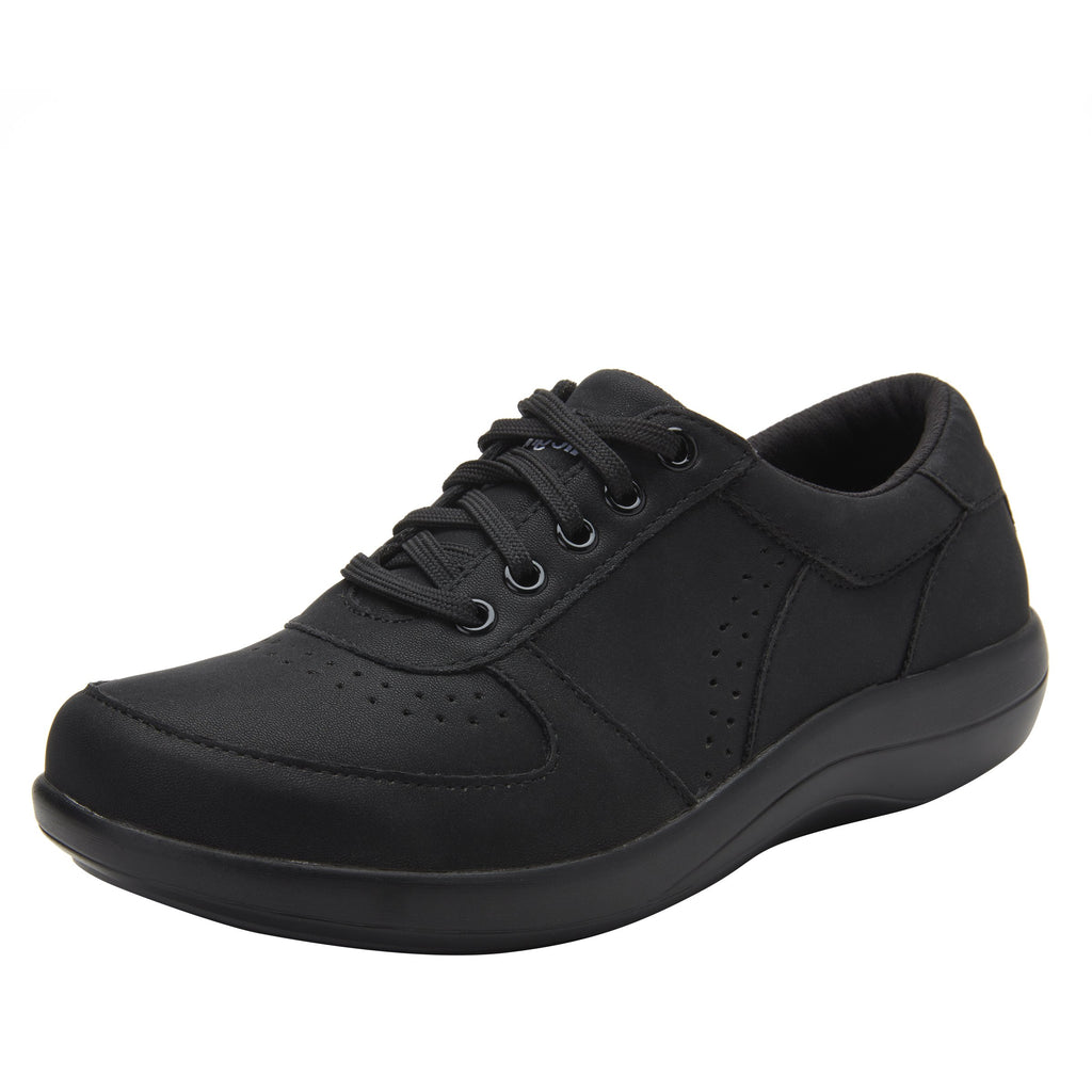 Daphne Black Softie sport rocker shoe with dual density polyurethane outsole and laces for adjustability. DAP-7873_S1