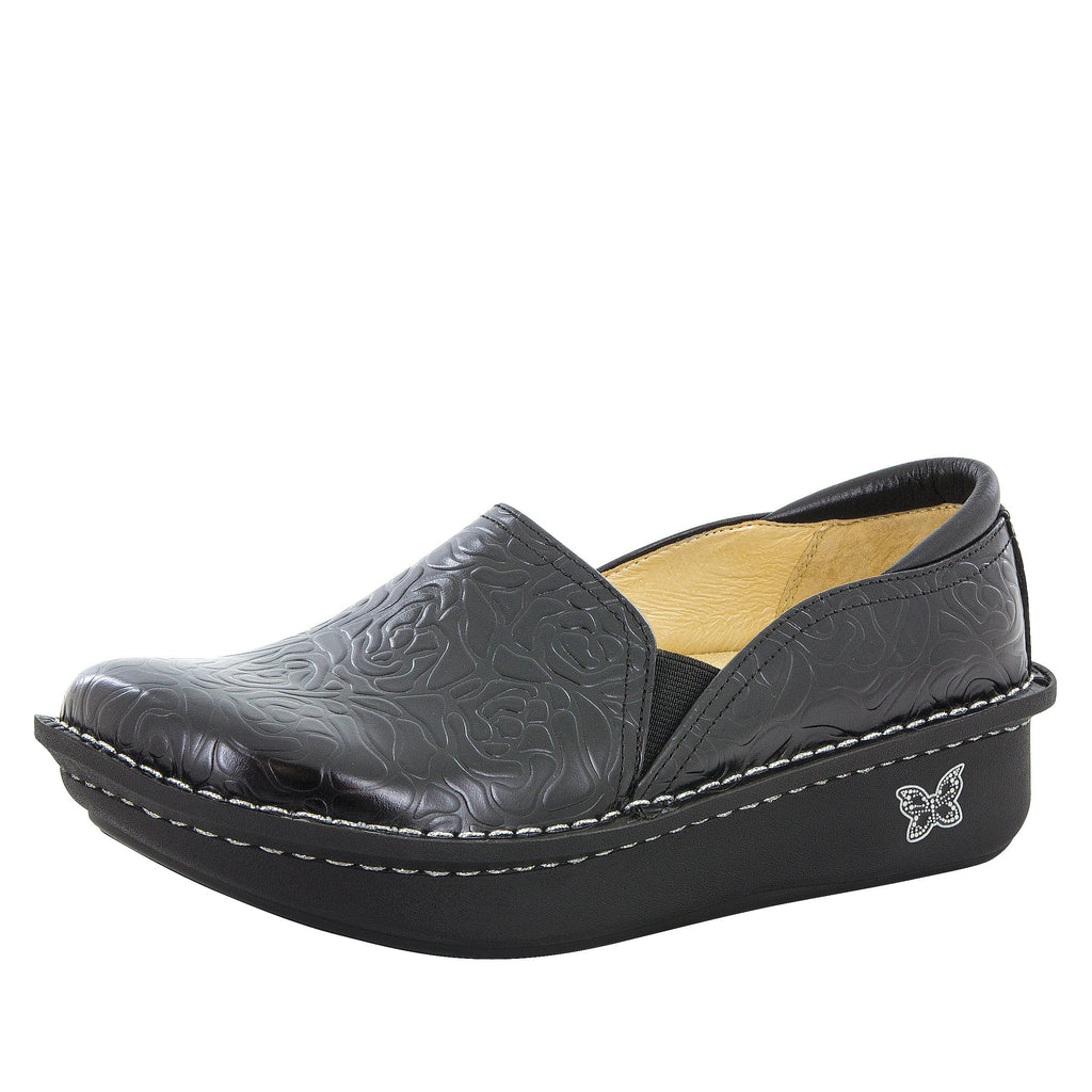 Debra Black Embossed Rose Shoe on Classic rocker bottom -Deb-531_S1