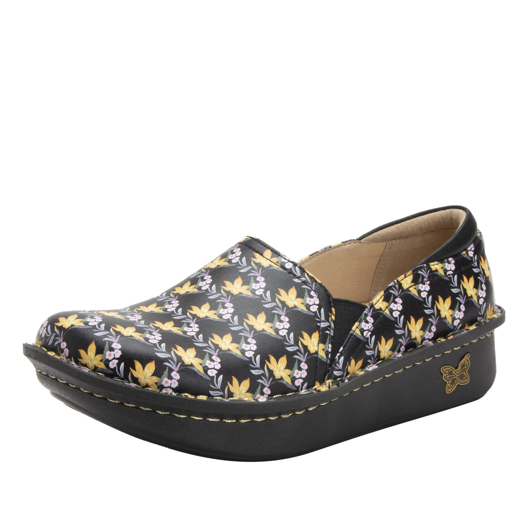 Debra Aloha Black slip-on shoe with Classic Rocker Bottom - DEB-7708_S1