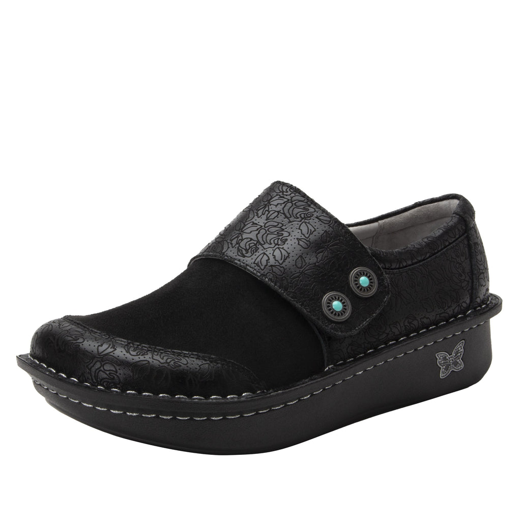Deliah Ink Impressions shoe with adjustable hook and loop strap on Classic Rocker outsole- DEI-7825_S1
