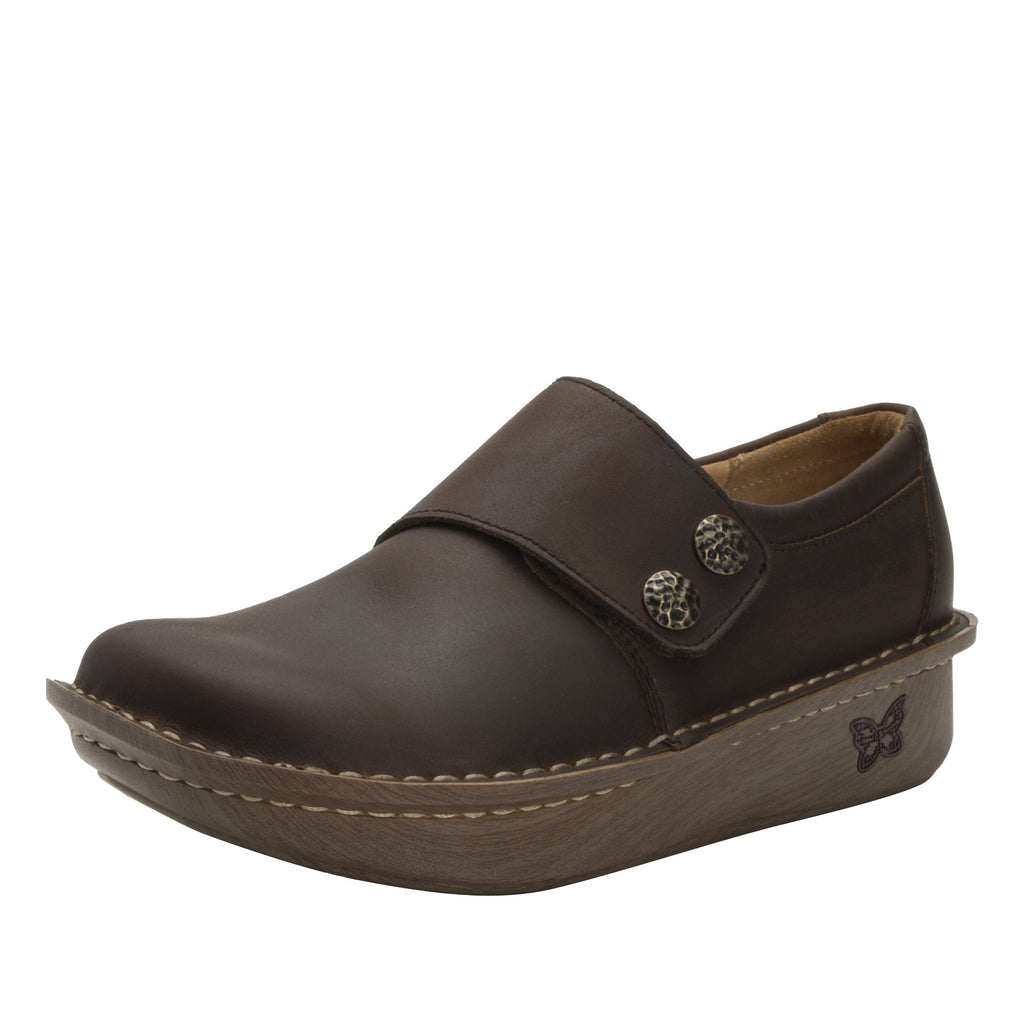 Deliah Oiled Brown shoe with adjustable hook and loop strap on Classic Rocker outsole- DEL-7714_S1