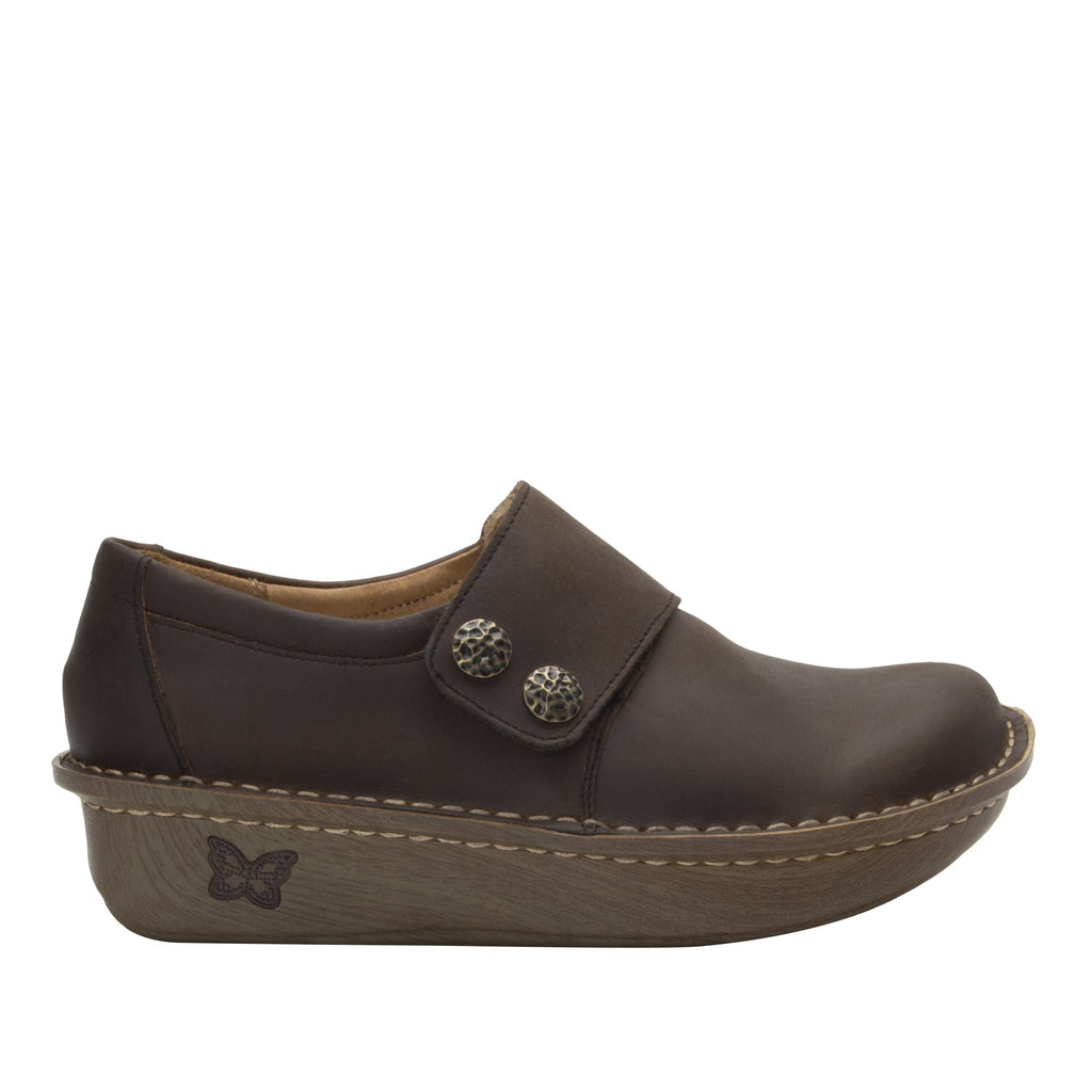 Deliah Oiled Brown shoe with adjustable hook and loop strap on Classic Rocker outsole- DEL-7714_S2