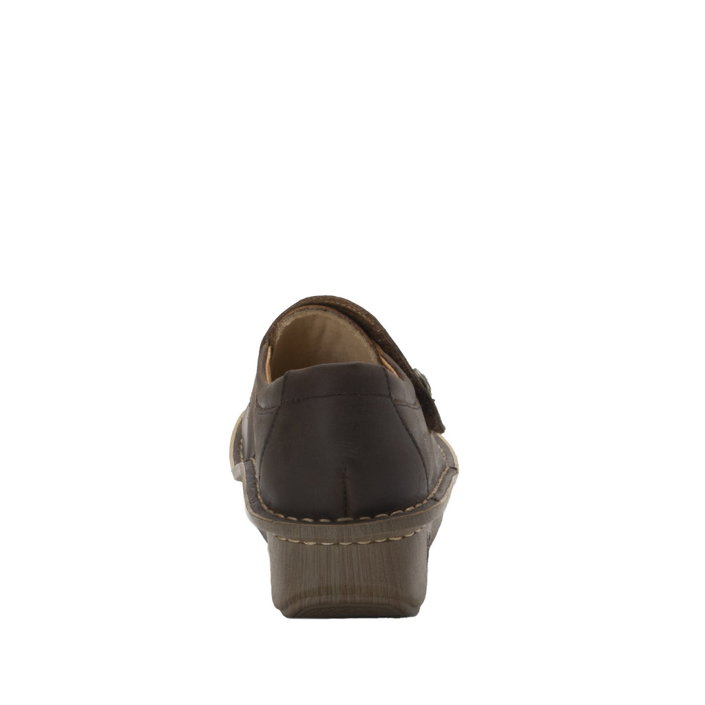 Deliah Oiled Brown shoe with adjustable hook and loop strap on Classic Rocker outsole- DEL-7714_S3