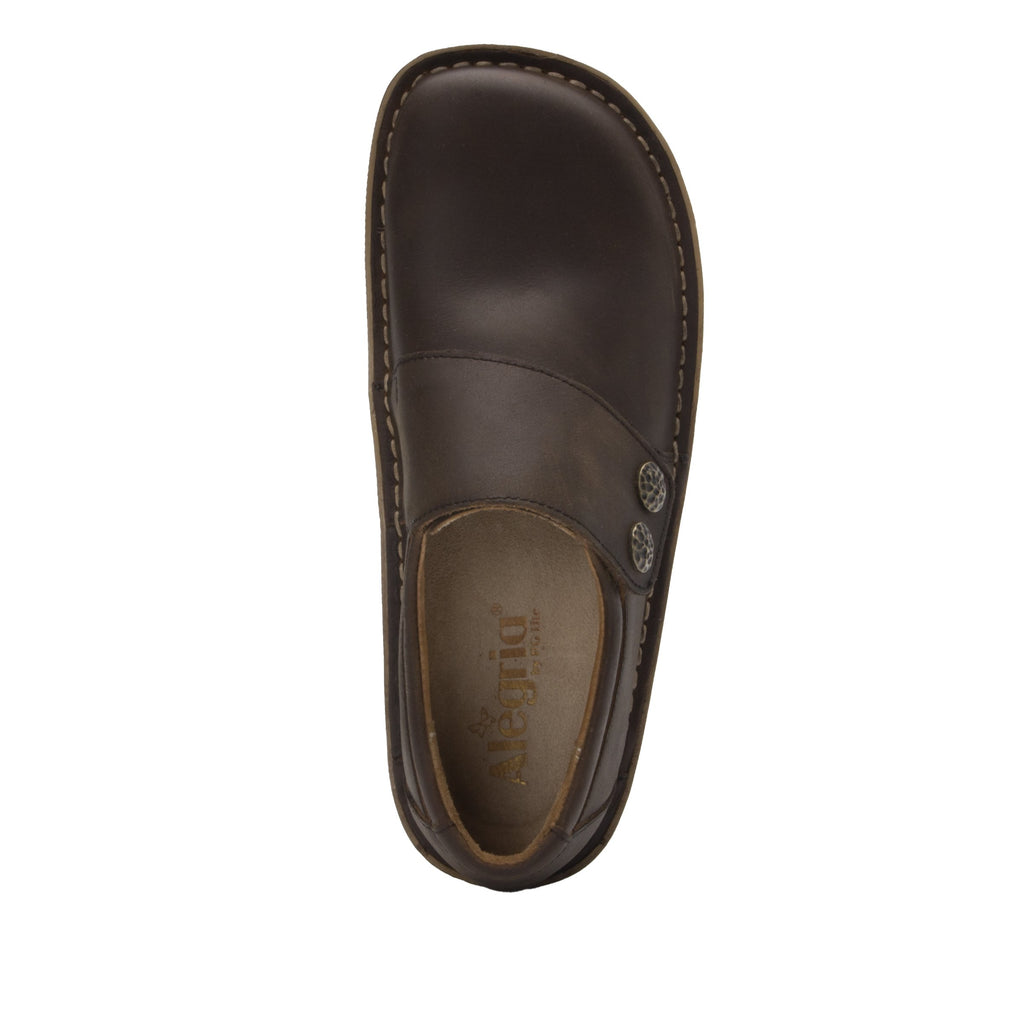 Deliah Oiled Brown shoe with adjustable hook and loop strap on Classic Rocker outsole- DEL-7714_S4