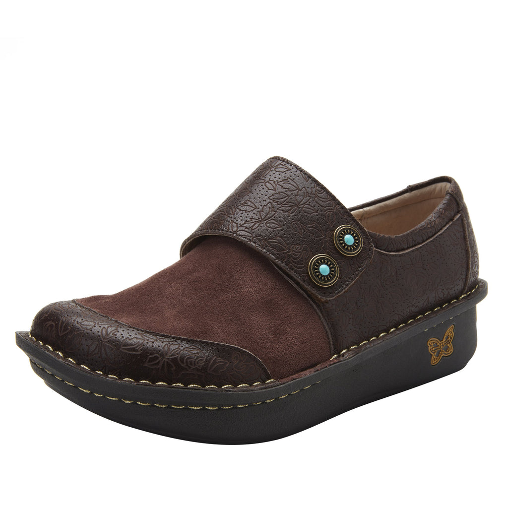 Deliah Cocoa Impressions shoe with adjustable hook and loop strap on Classic Rocker outsole- DEI-7824_S1