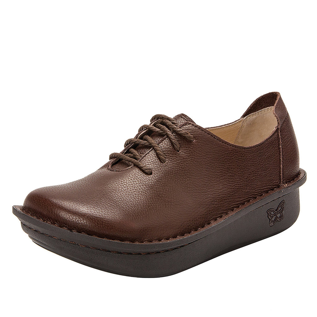 Dillyn Mocha lace up shoes on classic rocker outsole - DIL-189_S1