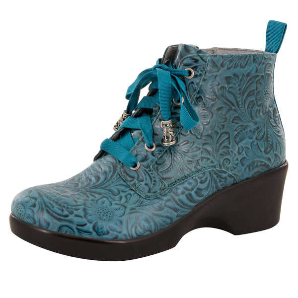 Eliza Teal Tooled Boot - Alegria Shoes - 1