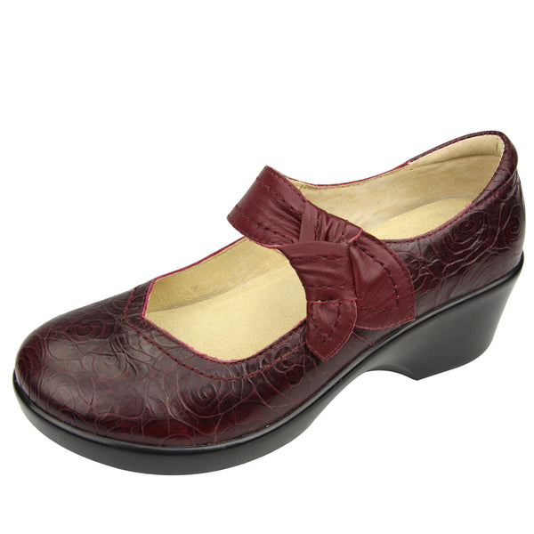 Ella Wine Rosette Shoe - Alegria Shoes