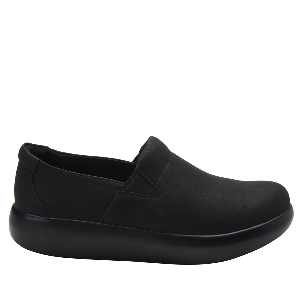 Elly Black Softie vegan leather upper slip on style shoe with non-flexing rocker outsole - ELL-7873_S2