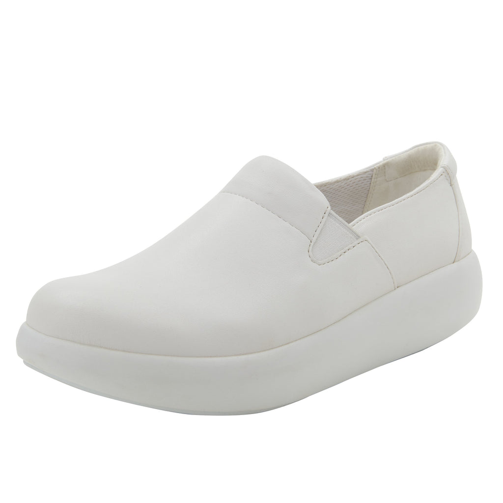 Elly White Softie vegan leather upper slip on style shoe with non-flexing rocker outsole - ELL-7874_S1