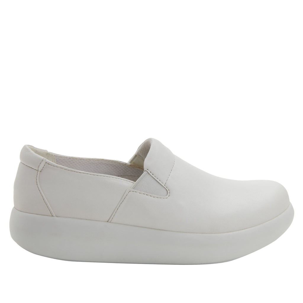 Elly White Softie vegan leather upper slip on style shoe with non-flexing rocker outsole - ELL-7874_S2