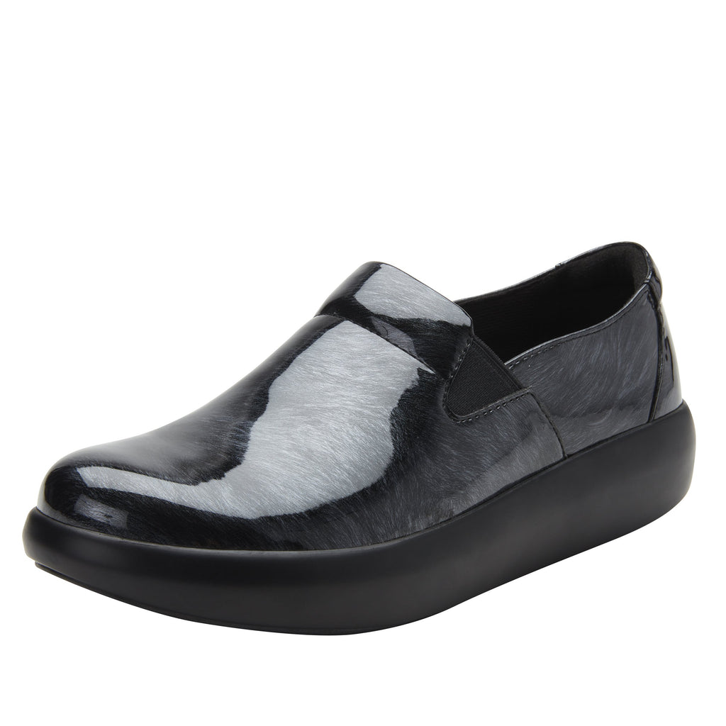 Elly Pewter Fields vegan leather upper slip on style shoe with non-flexing rocker outsole - ELL-7875_S1