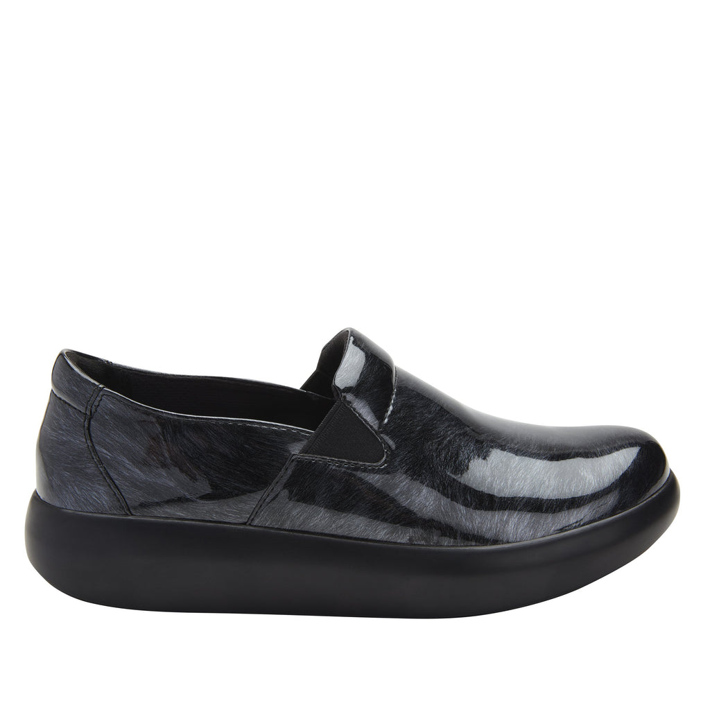 Elly Pewter Fields vegan leather upper slip on style shoe with non-flexing rocker outsole - ELL-7875_S2