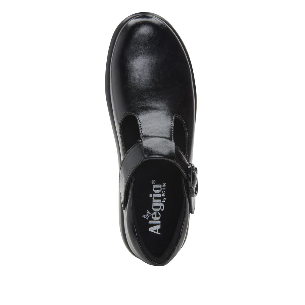 Eloise Black vegan leather upper t-strap style with adjustable hook-and-loop strap with non-flexing rocker outsole - ELO-7857_S4