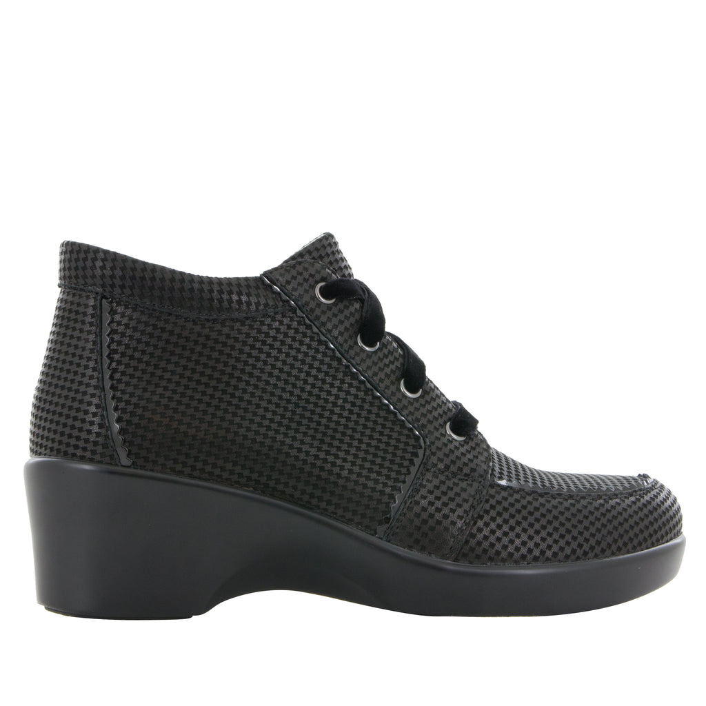 Elsa Houndstooth Mini lace up bootie on the career fashion wedge outsole - ELS-773_S2
