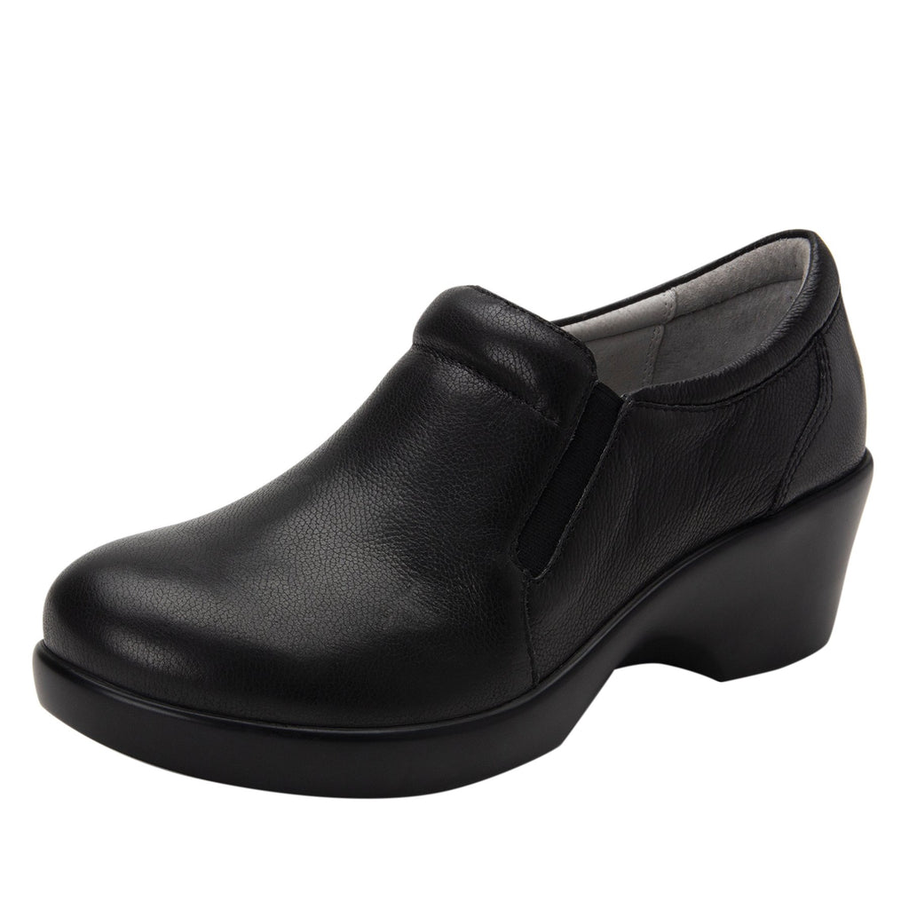 Eryn slip on career fashion wedge shoe in black Upgrade leather - ERY-161_S1 (2250496442422)