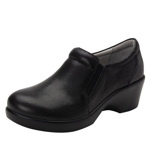 Eryn slip on career fashion wedge shoe in black Upgrade leather - ERY-161_S1