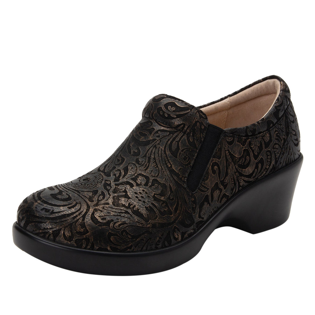 Eryn slip on career fashion wedge shoe in embossed Bronze Swish leather - ERY-184_S1