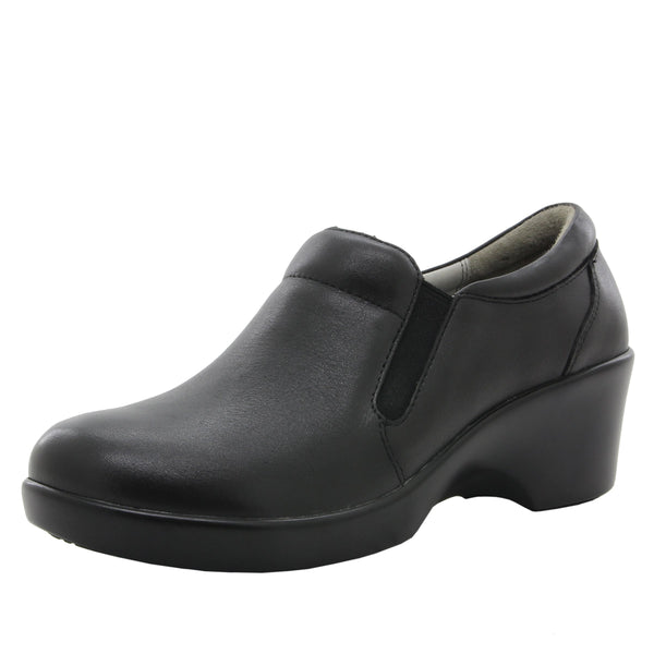 Eryn slip on career fashion wedge shoe in classic Black Nappa - ERY-601_S1