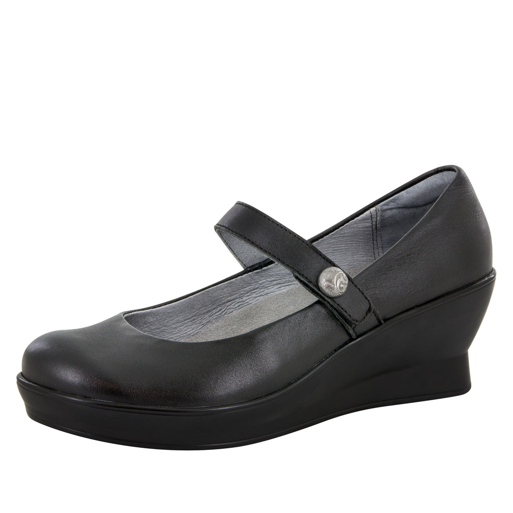 Flair Black Nappa Wedge - Alegria Shoes - 1