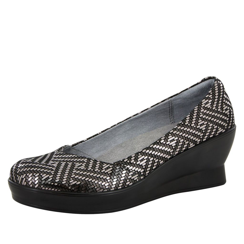 Flirt Pewter Dazzler Wedge - Alegria Shoes - 1