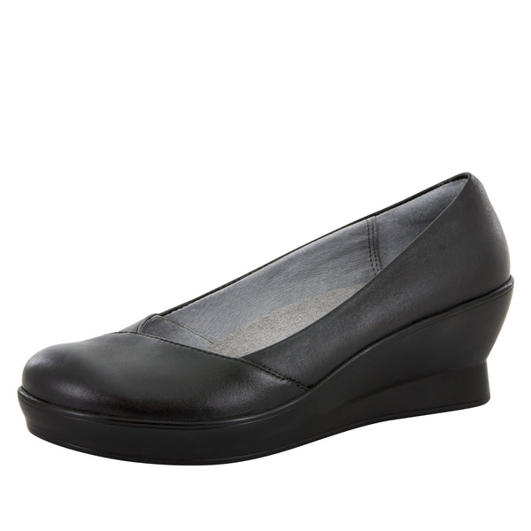 Flirt Black Nappa Wedge - Alegria Shoes - 1
