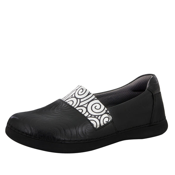 Glee Black Swirly Stamp Flat - Alegria Shoes - 1