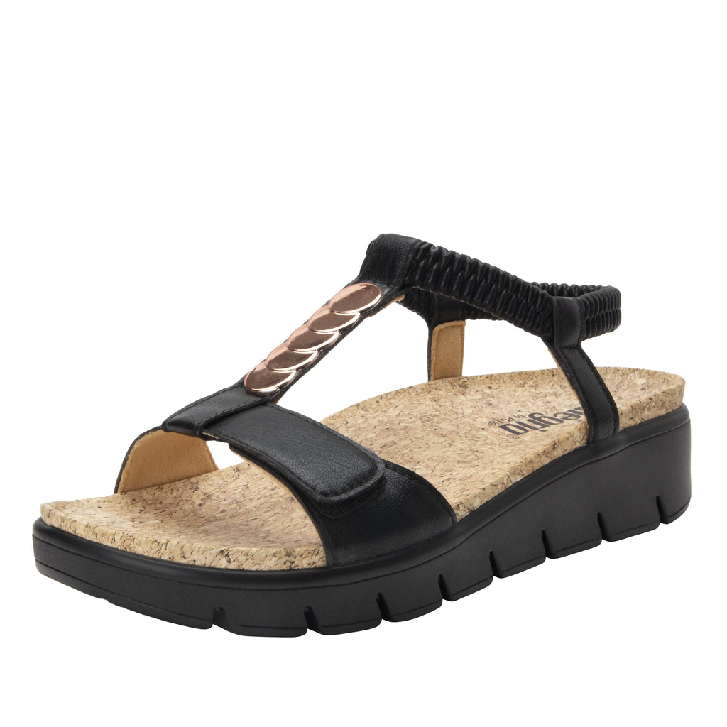 Harlie Black t-strap sandal on heritage outsole with cork printed footbed- HAR-601_S1
