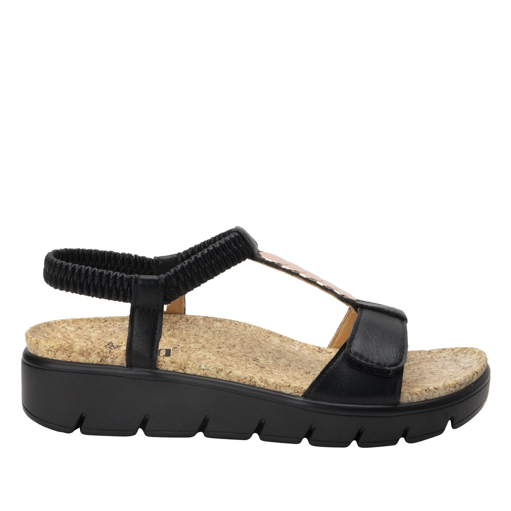 Harlie Black t-strap sandal on heritage outsole with cork printed footbed- HAR-601_S2