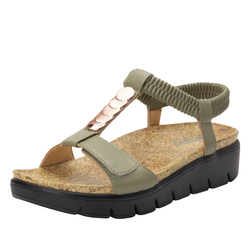 Harlie Sage t-strap sandal on heritage outsole with cork printed footbed- HAR-668_S1