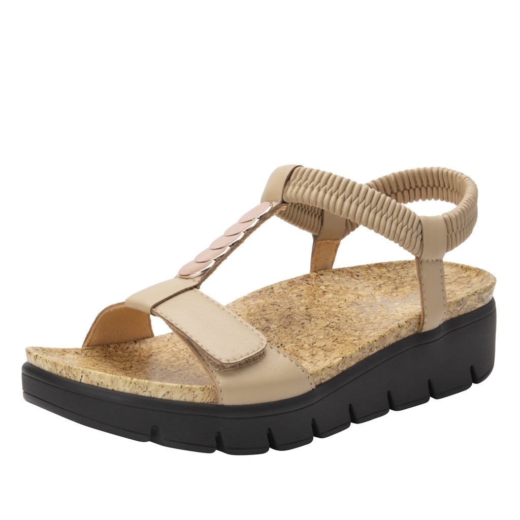 Harlie Bone t-strap sandal on heritage outsole with cork printed footbed- HAR-7731_S1