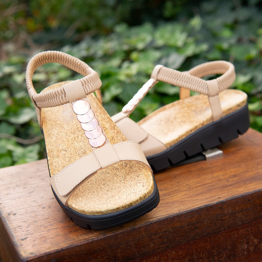 Harlie Bone t-strap sandal on heritage outsole with cork printed footbed- HAR-7731_S2