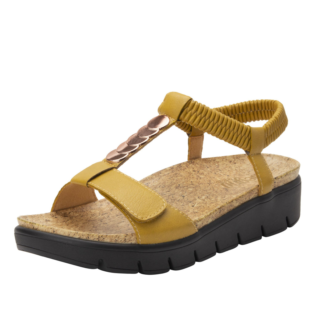 Harlie Mustard t-strap sandal on heritage outsole with cork printed footbed- HAR-7939_S1