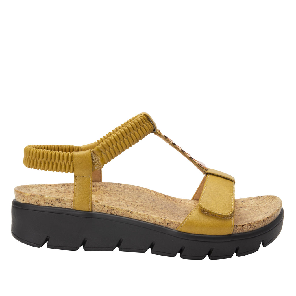 Harlie Mustard t-strap sandal on heritage outsole with cork printed footbed- HAR-7939_S2