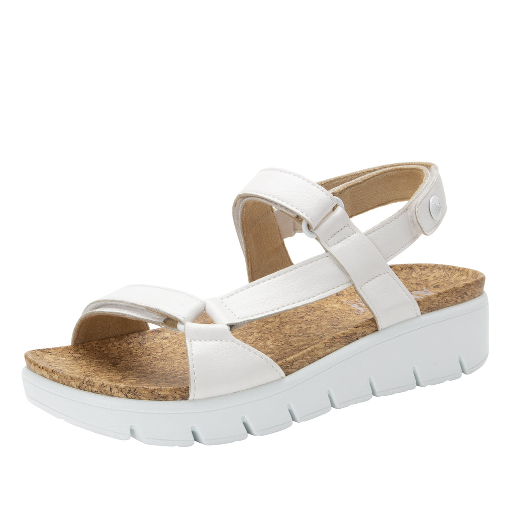 Henna White strappy sandal on heritage outsole with cork printed footbed- HEN-600_S1