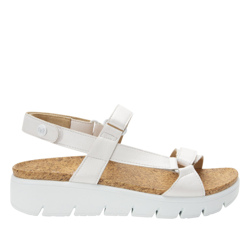 Henna White strappy sandal on heritage outsole with cork printed footbed- HEN-600_S2