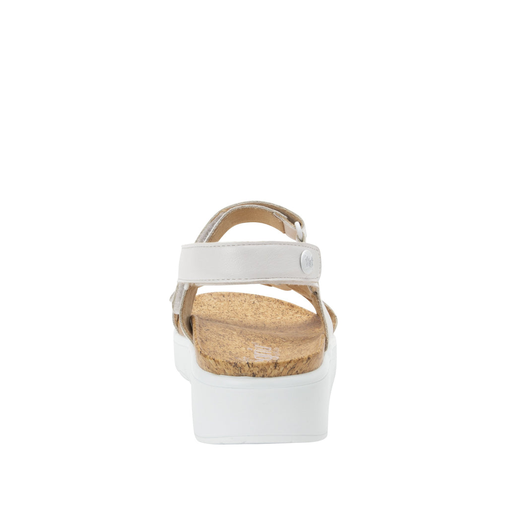 Henna White strappy sandal on heritage outsole with cork printed footbed- HEN-600_S3