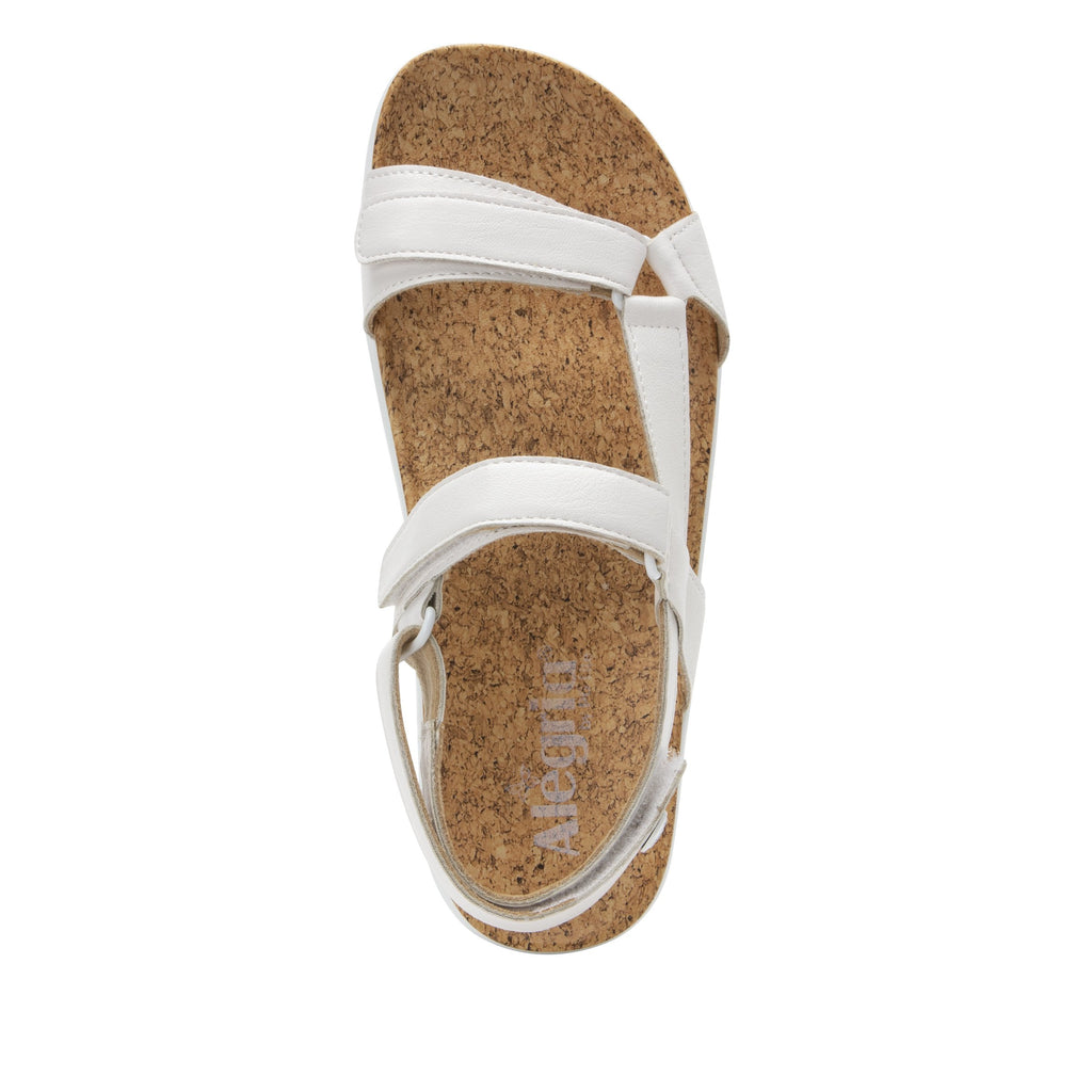 Henna White strappy sandal on heritage outsole with cork printed footbed- HEN-600_S4