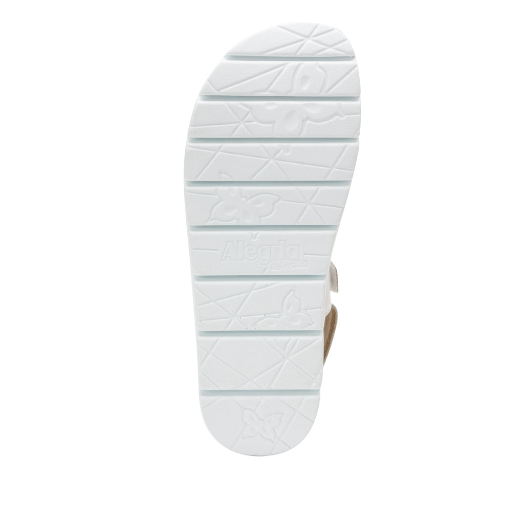 Henna White strappy sandal on heritage outsole with cork printed footbed- HEN-600_S5