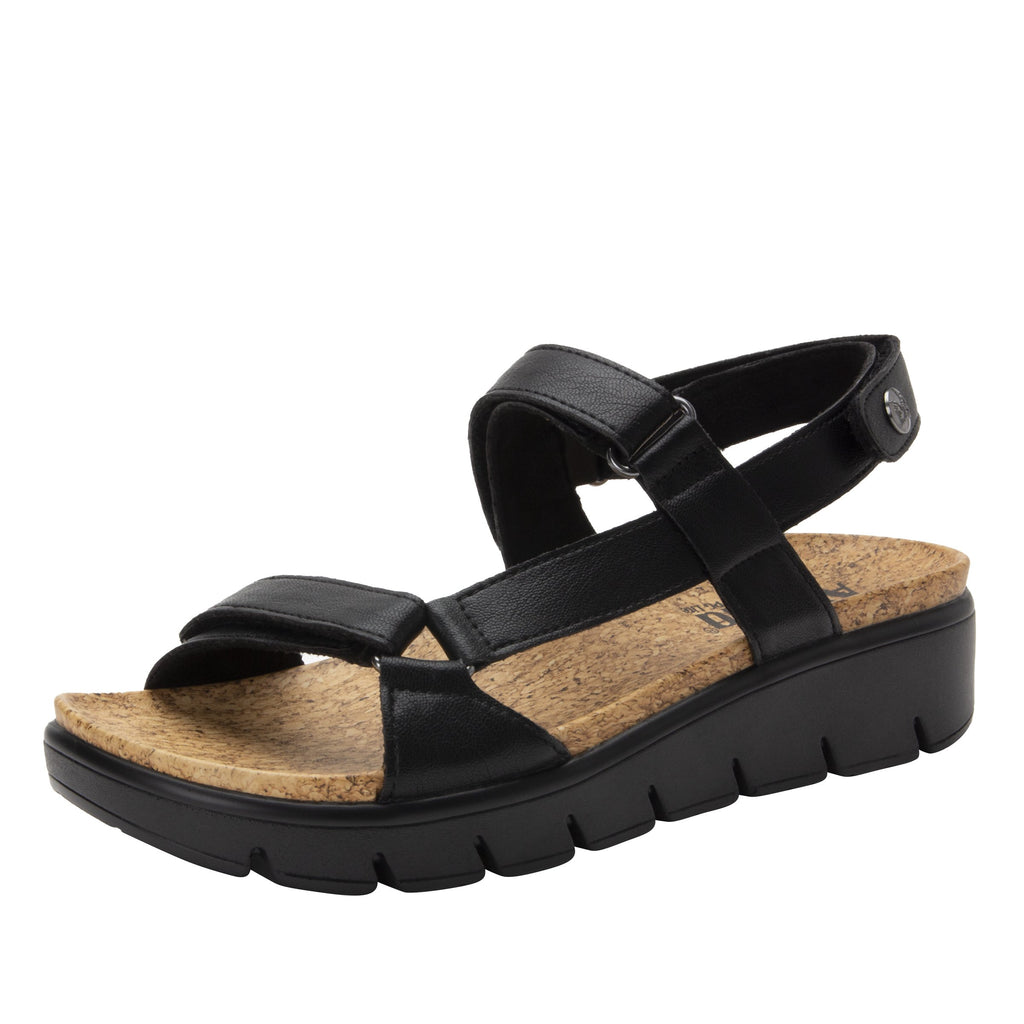 Henna Black strappy sandal on heritage outsole with cork printed footbed- HEN-601_S1