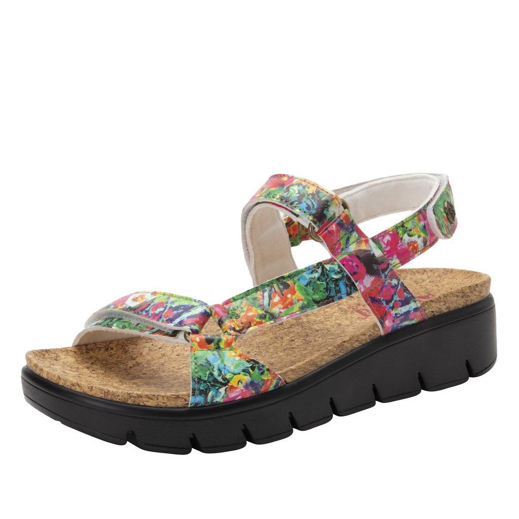 Henna Itchycoo strappy sandal on heritage outsole with cork printed footbed- HEN-7769_S1