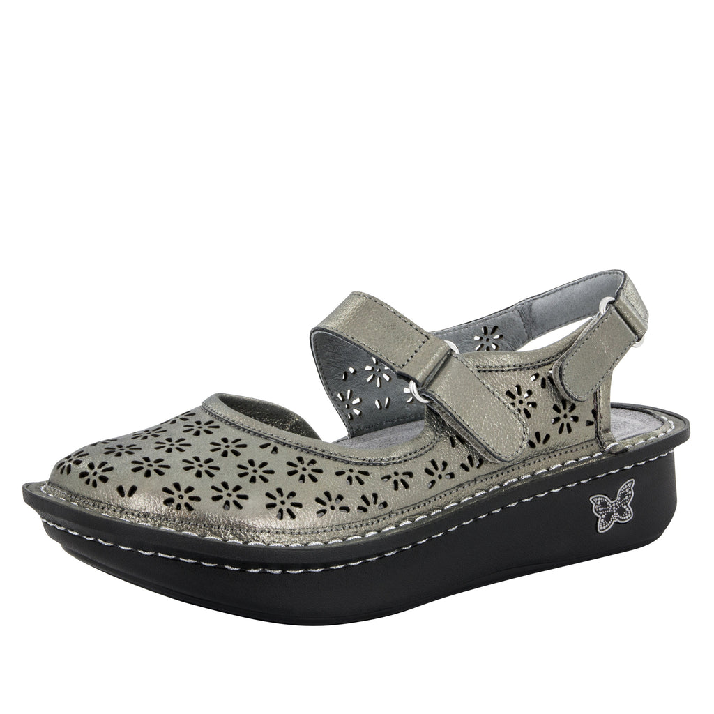 Jemma Pewter Easy Sandal - Alegria Shoes - 1