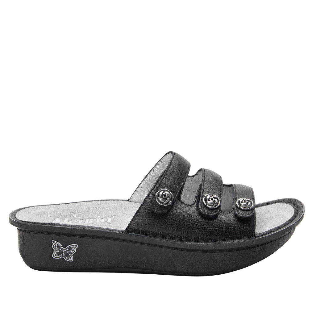 Kacee Black triple strap sandal on classic rocker outsole - KAC-601_S2