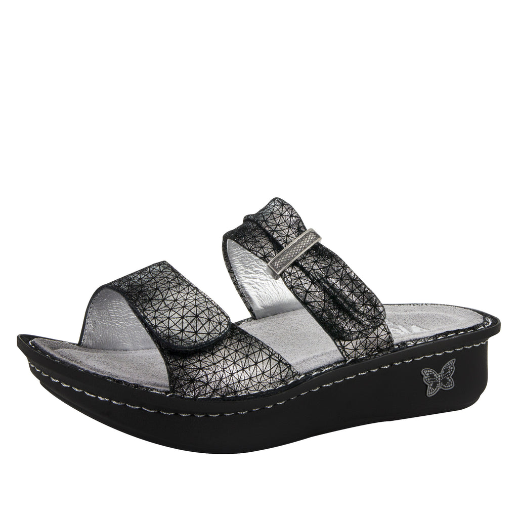 Karmen Pewter Wavy Sandal - Alegria Shoes - 1