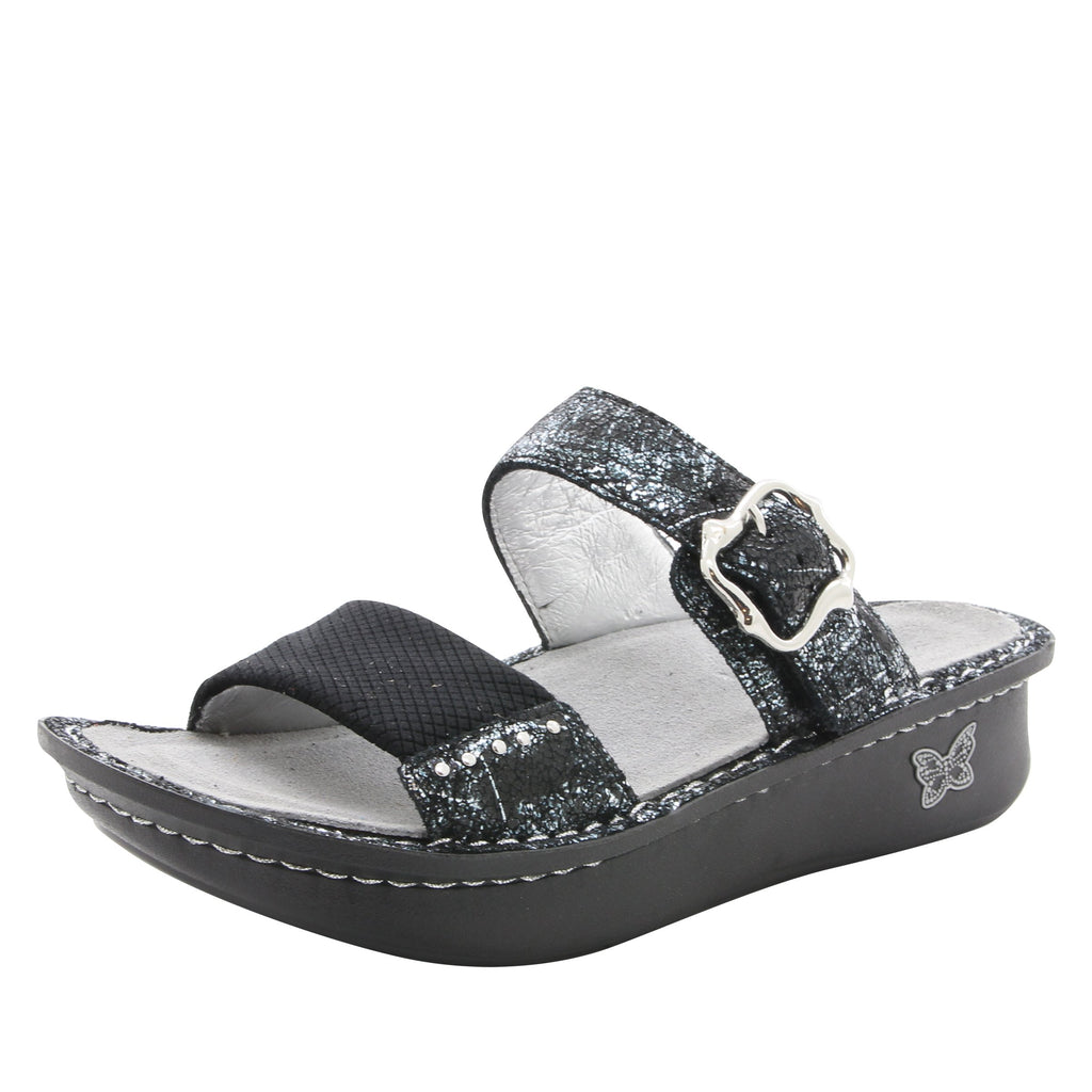 Keara Pretty Patina Slide Sandal with accomodating neoprene panel and hook and loop closure on Classic rocker outsole - KEA-887_S1
