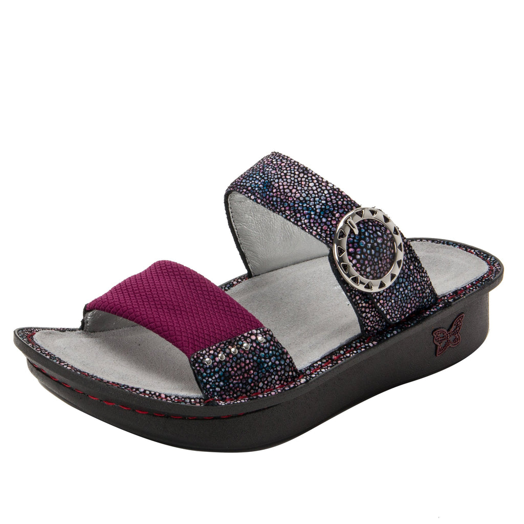 Keara Plum Multi Slide Sandal with accomodating neoprene panel and hook and loop closure on Classic rocker outsole - KEA-935_S1